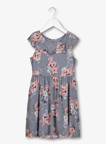 Grey & Pink Floral Sparkle Georgette Dress (3-14 Years)