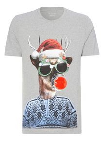 Grey Reindeer  Christmas Lights T-shirt