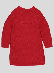 Red Embroidered Knitted Dress & Tights (0-24 months)