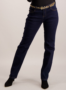 Dark Denim Straight Leg Jeans With Belt