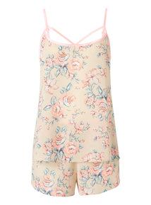 Multicoloured Chiffon Shortie Floral PJ Set