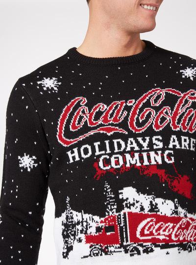Mens Black Christmas Coca Cola Jumper
