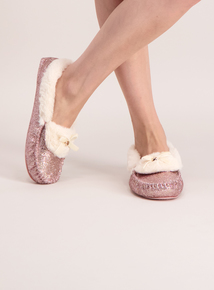 Pink Sparkle Loafer Slippers