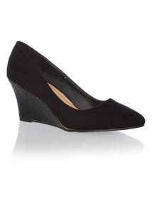 Black Ballerina Wedge Heels