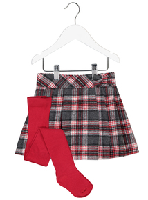Red & Grey Tartan Skirt And Cotton Rich Tights 2 Piece Set (9 Months - 6 Years)
