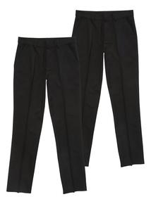 Boys Black Slim Fit Trousers 2 Pack (10-16 years)