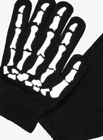 Halloween Black Skeleton Gloves (onesize)