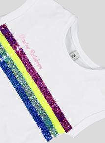 White Rainbow Stripe Top