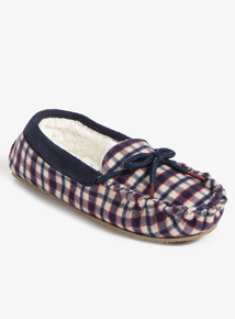 Multicoloured Check Mocassin Slippers (Infant 6-4)