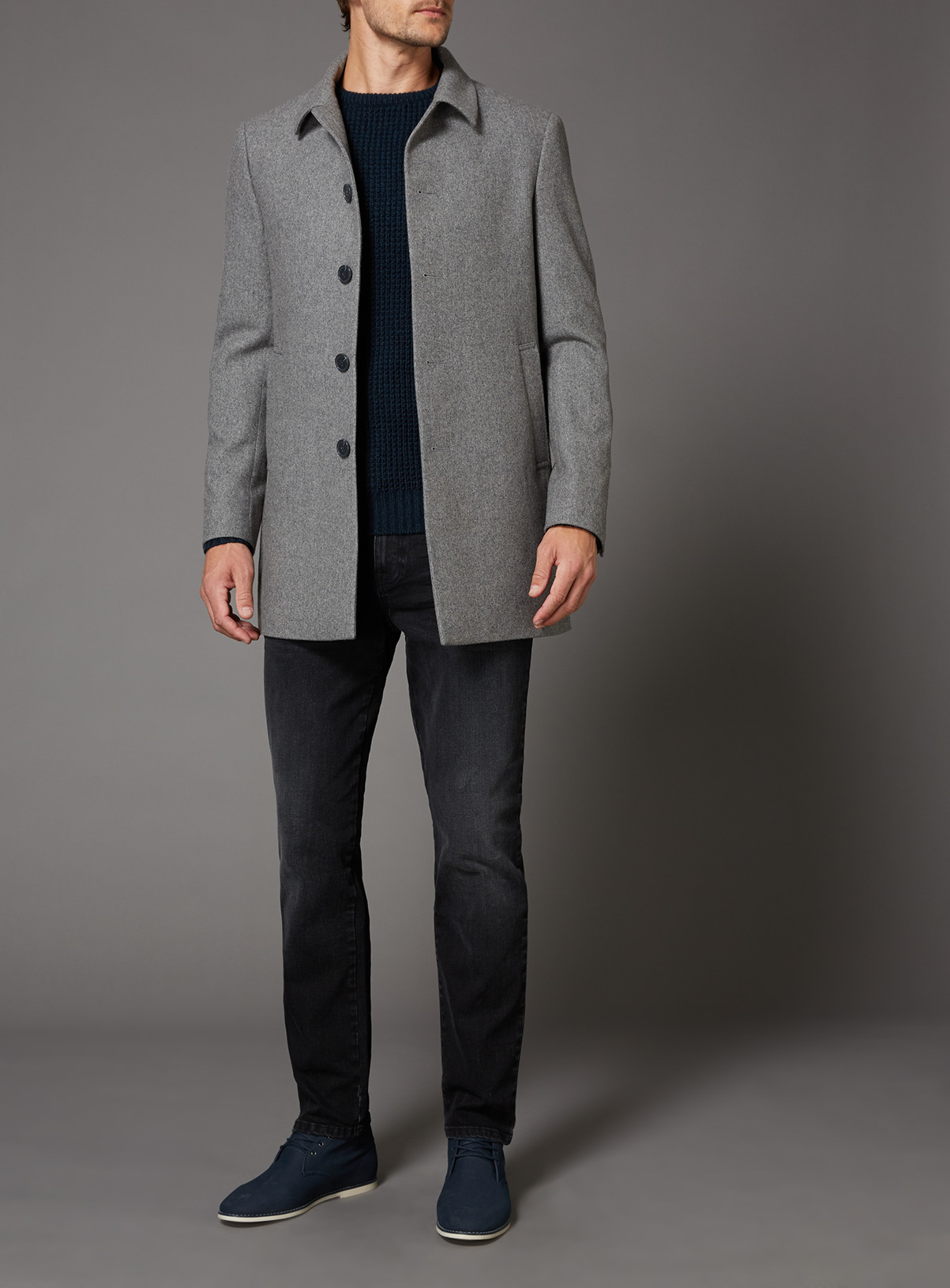 Mens Grey Herringbone Slim Fit Car Coat | Tu clothing