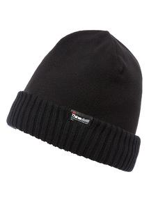 Black Thinsulate Fleece Knitted Rib Hat