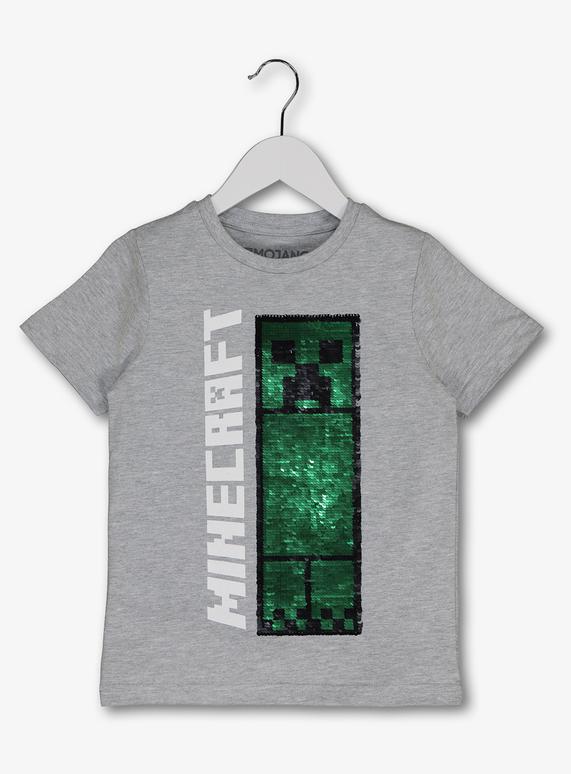 79b0b957d Kids Minecraft Grey Sequin T-Shirt (5-14 Years) | Tu clothing