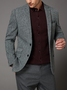 Black and Light Grey Harris Tweed Slim Fit Jacket