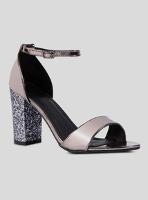 Online Exclusive Silver Glitter Block Heel Sandal
