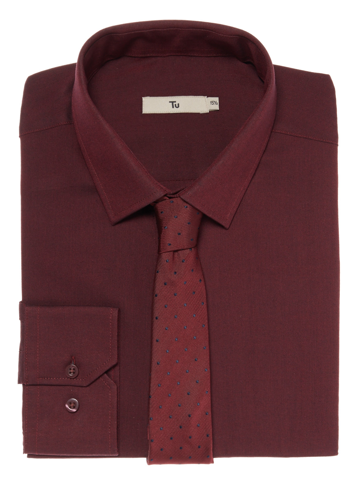 Mens Dark Red Shirt Tie Set | Tu clothing