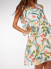 Floral Print Double Layer Dress