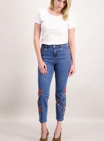 Denim Floral Embroidered Crop Jeans