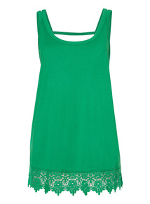 Green Sleeveless Lace Trim Vest