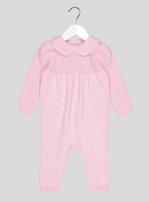 Pink Peter Pan Collar Knitted Sleepsuit (0-12 months)