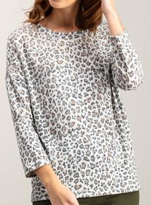 Leopard Print Knit Look Beaded Top