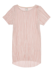 Girls Pink Plissé Longline Top (3-12 years)