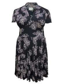 EMILY Black & Blush Dita 1940s Jersey Short Sleeve Dress