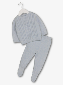 Blue Cable Knit Jumper & Bottoms Set (Newborn - 12 months)