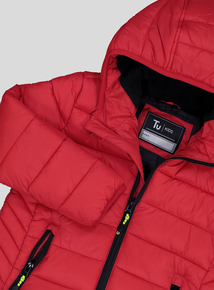 Red Shower Resistant Puffer Jacket (3-14 years)