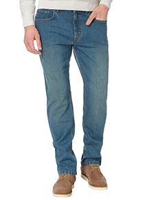 Blue Light Wash Straight Stretch Denim Jeans