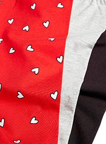 3 Pack Multicoloured Heart Leggings (3-14 years)