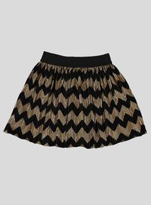 Black & Gold Glitter Thread Skater Skirt (3-14 years)