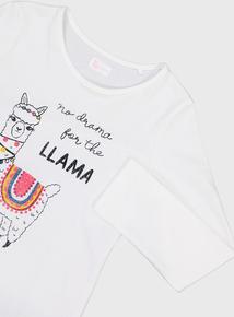 White 'Drama Llama' Logo T-Shirt (3 - 14 years)