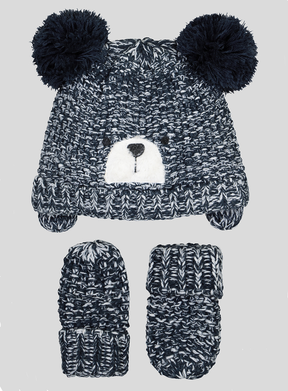 3c12caa04d83d Baby Navy Bear Pom-Pom Hat And Mittens Set (Newborn - 2 years)