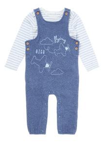 Blue Aeroplane Dungaree & Bodysuit (0-12 months)
