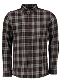 Brown & Grey Check Slim Fit Shirt