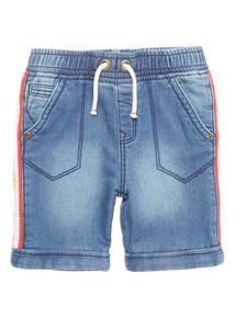 Boys Blue Denim Striped Side Shorts (9 months - 6 years)