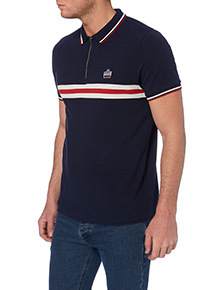 Admiral Navy Striped Zip Neck Polo