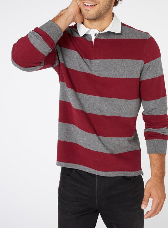 f68d6243f644 Menswear Grey and Burgundy Striped Rugby Shirt