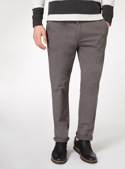 Grey Marl Straight Fit Chinos With Stretch