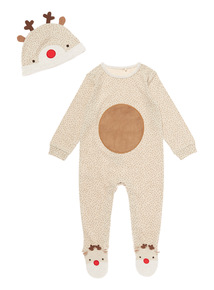 Brown Christmas Novelty Reindeer Sleepsuit (0-24 months)
