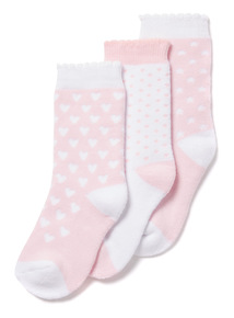 3 Pack Pink Swan Terry Socks (0-24 months)