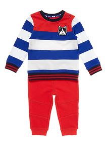 Multicoloured Two Pack Stripe Sweat and Jog Set (0-24 months)