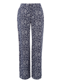 Navy Floral Print Wide Leg Trousers