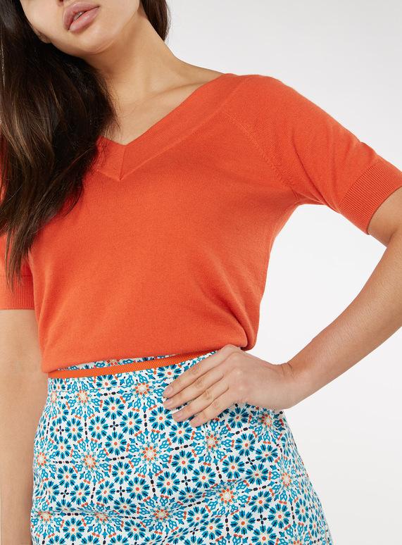 Orange Cotton V-Neck T-shirt