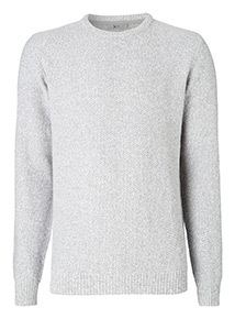 Grey Seed Stitch Crew Neck Jumper