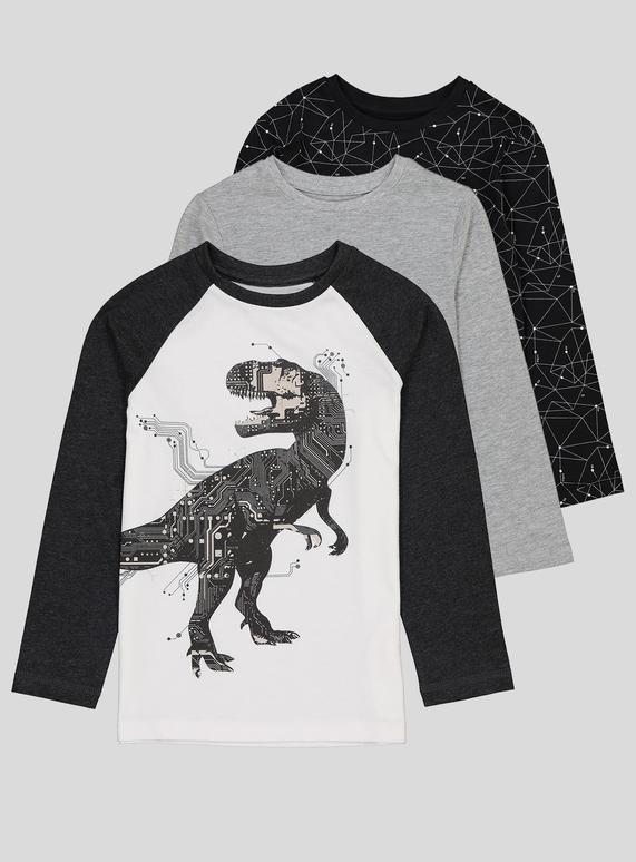 e7f658209 Kids Monochrome Dinosaur Print T-Shirts (3-14 years) | Tu clothing