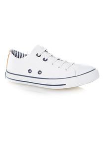 White Lace Up Canvas Shoes