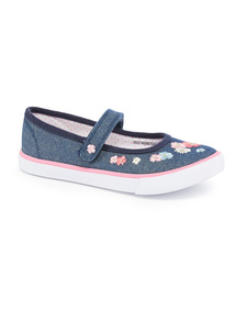 Floral Mary Jane Canvas Shoes
