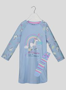Blue Rainbow Unicorn Nightie Set With Socks (3-13 years)