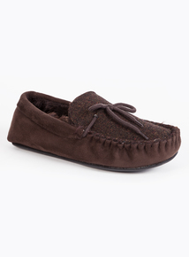 Brown Herringbone Moccasin Slippers